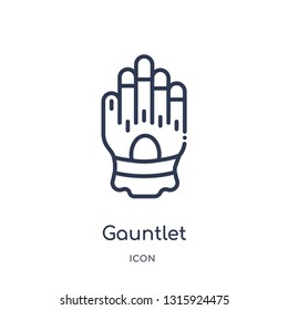 gauntlet icon from shapes outline collection. Thin line gauntlet icon isolated on white background.