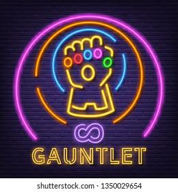 gauntlet neon signboard, vector neon glow on dark background