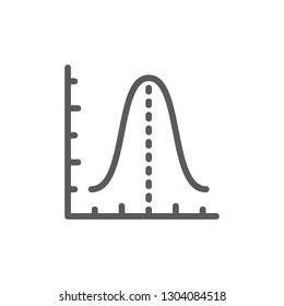 Gauss histogram function graph, parabola line icon.