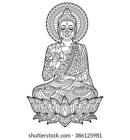 Lotus Flowers Mandala Adult Coloring Pages Images Stock Photos