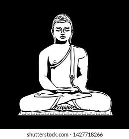 Gautama Buddha's Meditating Pose Digital vector art - Wall sticker, tattoo design, scroll saw or Intarsia pattern