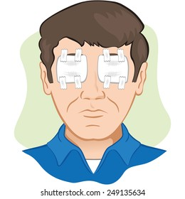 Gauze dressing with person in the eye irritated or injured, the front face. Ideal for training materials, catalogs and institutional