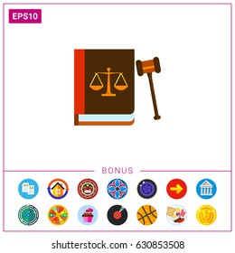 Gavel and Book as Law Concept Icon