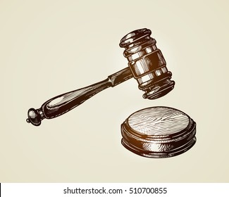 Gavel, hammer of judge or auctioneer. Sketch vector illustration