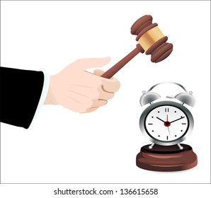 Gavel in hand and clock  isolated on white