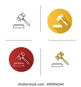 Gavel icon. Flat design, linear and color styles. Court hammer. Auction bid. Isolated vector illustrations