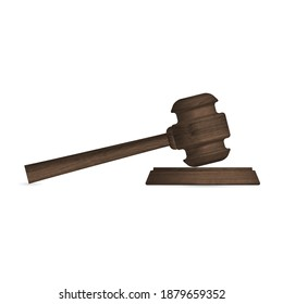 Gavel icon, isolated wooden hammer of judge and stand. Front view, vector illustration.