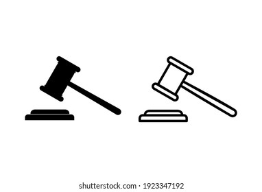 Gavel icon set. judge gavel icon vector. law icon vector. auction hammer