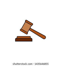 Gavel icon vector. Hammer icon vector. Judge Gavel Auction Icon Vector. Bid