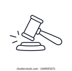 Gavel icon vector. Symbol for web site Computer and mobile vector. Judge logo on a white background. Wooden hammer law concept. Linear icon for ui,ux,user interface. Auction hammer. Stroke symbol
