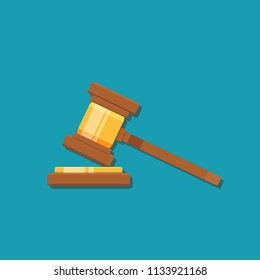 Gavel judge isolated on a colored background. Wooden gavel law concept. Flat cartoon style. Stock flat vector illustration.