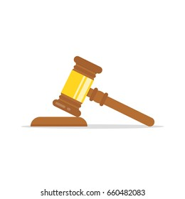 Gavel judge isolated on a colored background. Wooden gavel law concept. Flat cartoon style. Vector illustration.