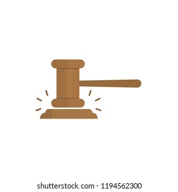 Gavel judge vector illustration in a flat style. Gavel icon flat isolated on a colored background. Wooden hammer law concept.