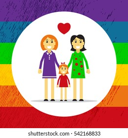 Gay couple with child isolated on white background. Happy gay family symbol. LGBT symbol. Gay rainbow background. Design elements for flyers or banners.