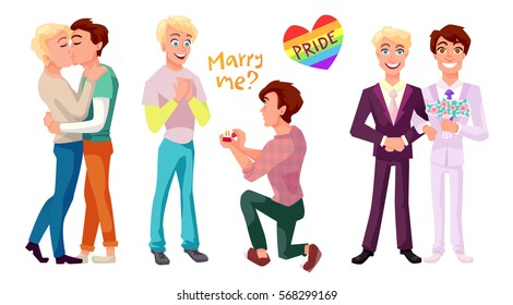 Gay couple concept illustrations set. Two men kissing, making proposal and getting married. Isolated flat characters.