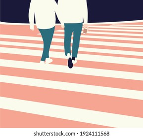 Gay couple holding hands on street. Two lovers hugging and having a walk outdoors in high contrast color.