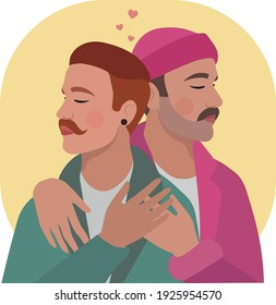 gay couple hugging, LGBT vector
