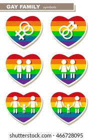Gay couple icons set isolated on white background. LGBT pride symbols. Gender symbols. Design elements for flyers or banners.