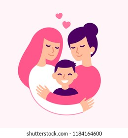 Gay couple with kid, happy lesbian women parents and son. Cute loving family hugging, vector illustration.