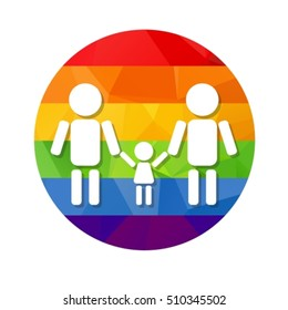Gay couple with kid  and rainbow frame isolated on white background. LGBT family symbol. Gay family with child. Design element for flyers or banners.
