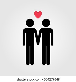 Gay couple with  red heart vector icon, gay marriage
