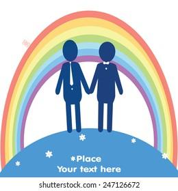 Gay couple symbol on white background. Vector illustration.
