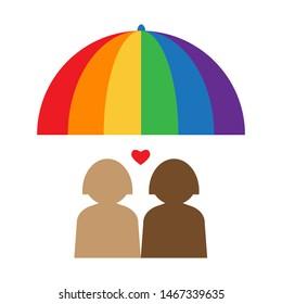 Gay couple under the rainbow umbrella. LGBT rights concept. Vector illustration. Design element for banner, leaflet, sticker, booklet.