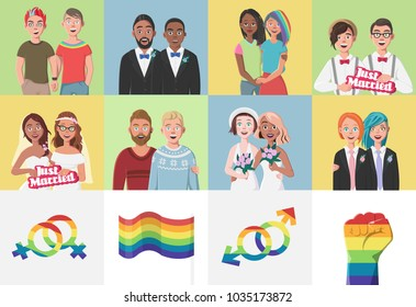 Gay Couples. Gay Couple Marriages. Boys and Girls. LGBT Flag. Mars and Venus Signs. Relationship Set.