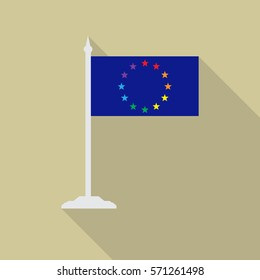 Gay European pride LGBT flag with flagpole flat icon with long shadow. Vector illustration EPS10 of a rainbow pride.