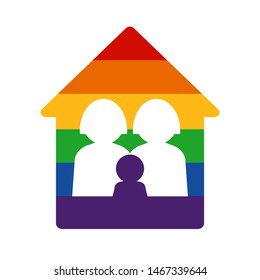 Gay family with child  and rainbow home. LGBT rights concept. Vector illustration. Design element for banner, leaflet, sticker, booklet.