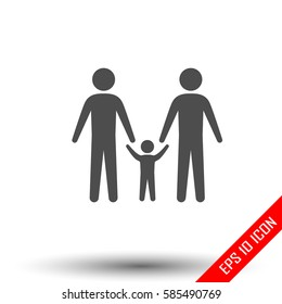 Gay family icon. Simple flat logo of gay family door on white background. Vector illustration.