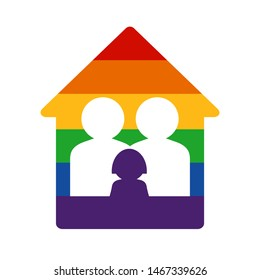 Gay family with kid and rainbow home. LGBT rights concept. Vector illustration. Design element for banner, leaflet, sticker, booklet.
