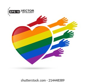 Gay flag in the form of heart with colored hands