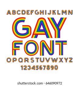 Gay font. Rainbow letters. LGBT ABC for Symbol of gays and lesbians. Alphabet of bisexual and transgender people