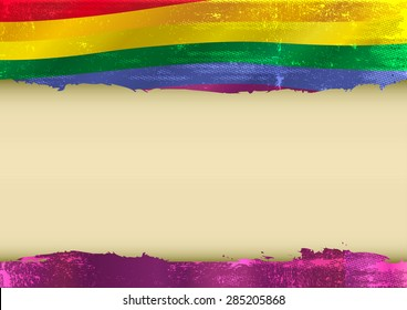 Gay horizontal scratched flag. Horizontal  background with a scratched gay flag  and a frame for your message