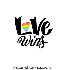 Gay Lettering. Conceptual poster with LGBT rainbow hand lettering. Colorful glitter handwritten phrase Love Wins isolated on black background. Vector typographic illustration for gay community support