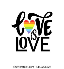 Gay Lettering. Conceptual poster with LGBT rainbow hand lettering. Colorful glitter handwritten phrase Love is Love isolated on black background. Vector typographic illustration for gay community