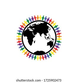 Gay  LGBT people around the Earth pride rainbow icon people love icon festival day