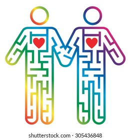 Gay male couple icon as Maze Maze shaped as Gay male couple colorful pictogram  symbolizing searching for love. Vector illustration.