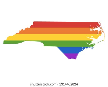 Gay Map of USA State of North Carolina