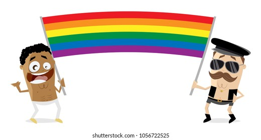 gay men with big rainbow flag