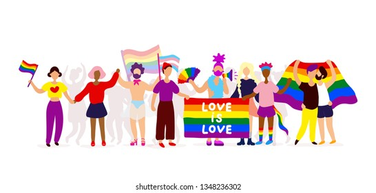 Gay parade. Interracial group of gay, lesbian, transgender activists participating in lgbtq pride. Vector flat modern style illustration icon design. Isolated on white background.