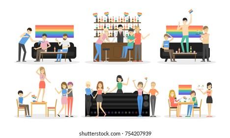 Gay party at bar set. People have fun. Rainbow flag.