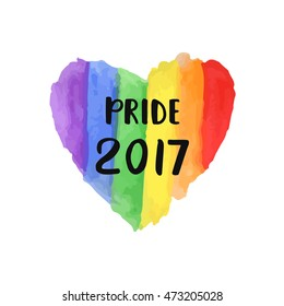 Gay Pride 2017 creative poster. Hand lettering on bright watercolor rainbow heart, homosexuality emblem. LGBT rights concept. Parades announcement banner, placard, invitation card typographic design