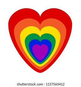 Gay pride colours as heart symbol