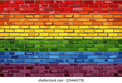 Gay pride flag on a brick wall - Illustration,   Rainbow flag on brick textured background