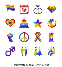 Gay pride icon set. Included the icons as flag, heart, power, sex, global, rainbow and more.