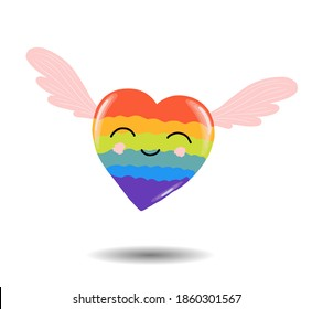 Gay Pride. LGBT concept. Cartoon vector colorful illustration. Valentine's Day. Rainbow heart. Lesbian-gay-bisexual-transgender. Rainbow love concept. international day against homophobia