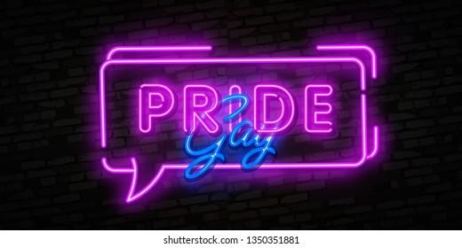 Gay Pride neon sign vector. LGBT Design template neon sign, light banner, neon signboard, nightly bright advertising, light inscription. Vector illustration. Editing text neon sign