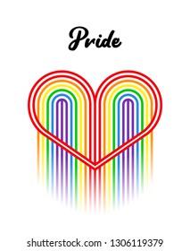 Gay pride. Rainbow striped heart. Vector lgbt design